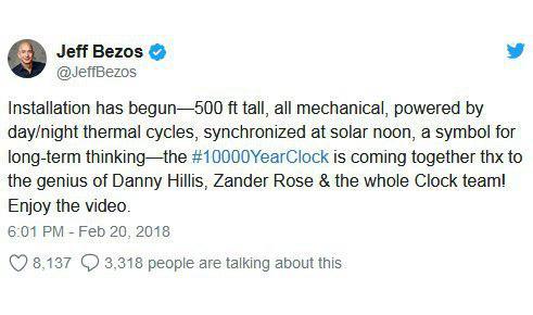 ساخت ساعت 10 هزار ساله توسط موسس آمازون